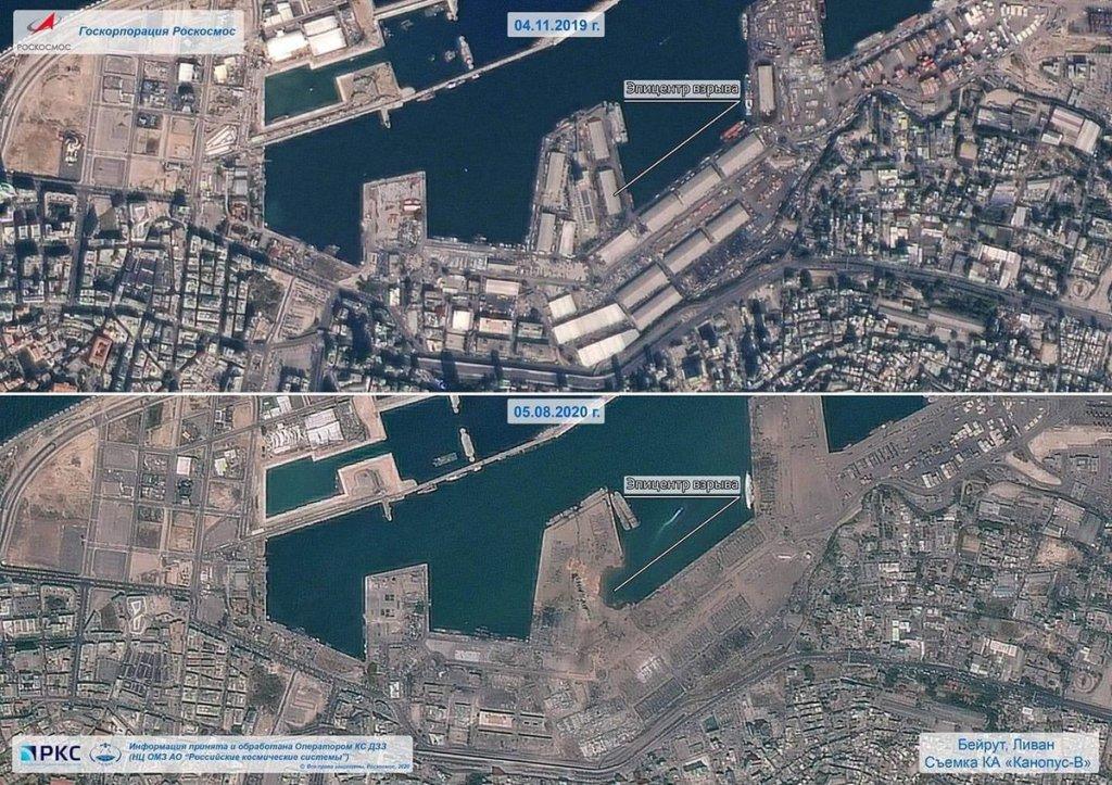 """Comparativa de las consecuencias de la explosión en el puerto de Beirut el pasado 4 de agosto. Imágenes del satélite ruso de teleobservación de la Tierra '' Kanopus-V """"."""
